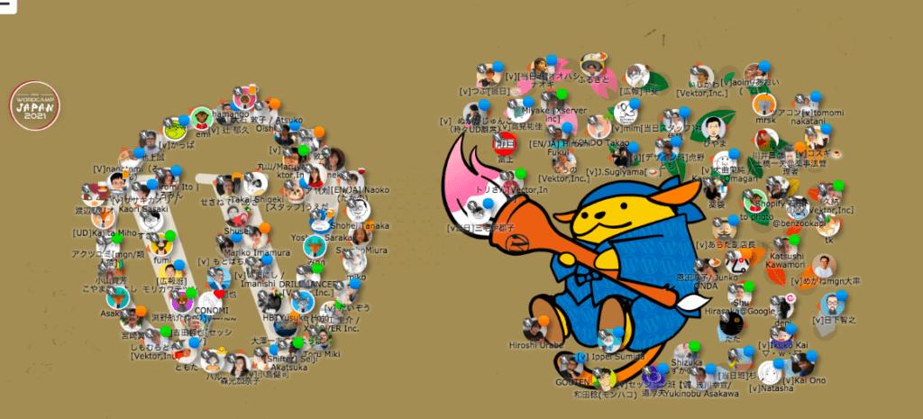 WordCamp Japan 2021 アフターパーティー人文字