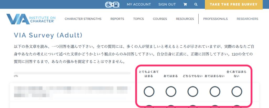 画像:VIAストレングスの診断画面(説明と設問は日本語)